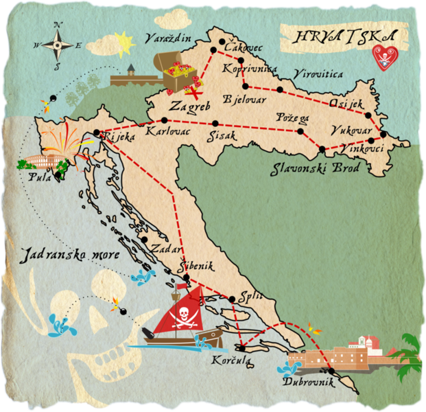 Treasure map Croatia - illustration