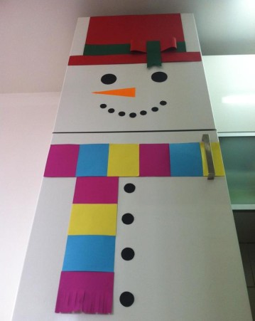 How to disguise the fridge into a Snowman