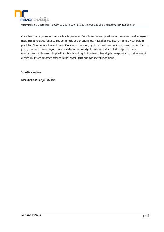 Nivo revizija - dopis