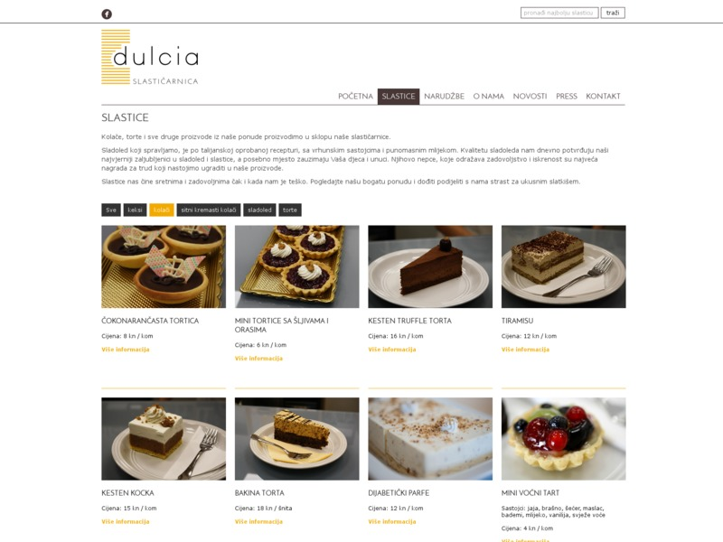 Web stranice slastičarnice Dulcia