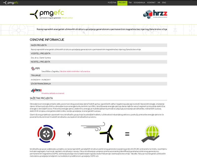 Web stranice projekta PMGEFC
