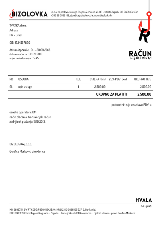 Template for invoice