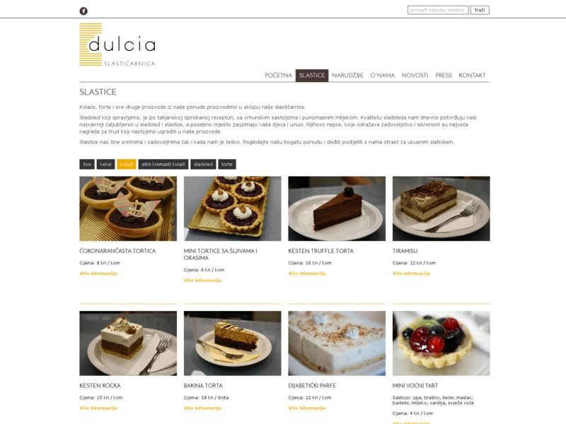 Pastry shop Dulcia web site