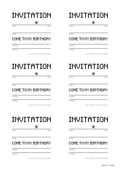 Minecraft invitation card - text