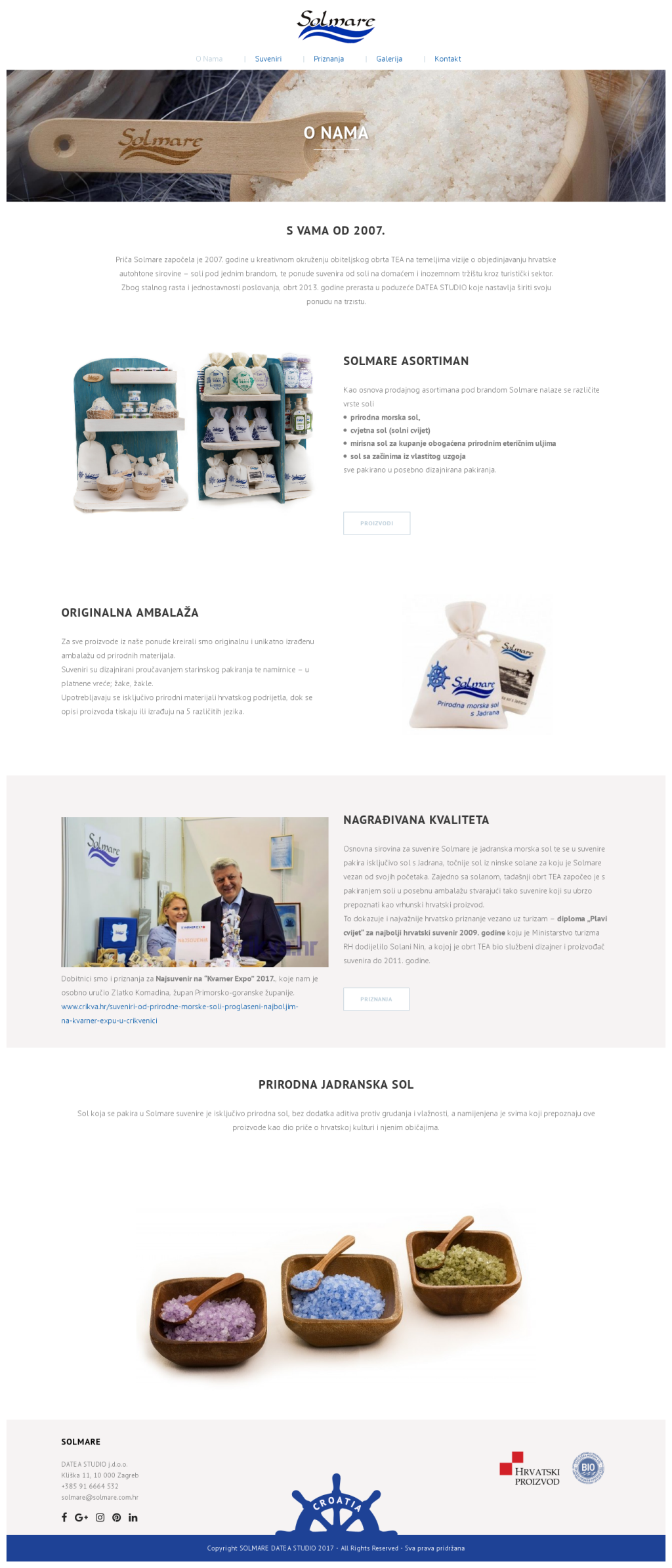 Solmare web site with product catalog