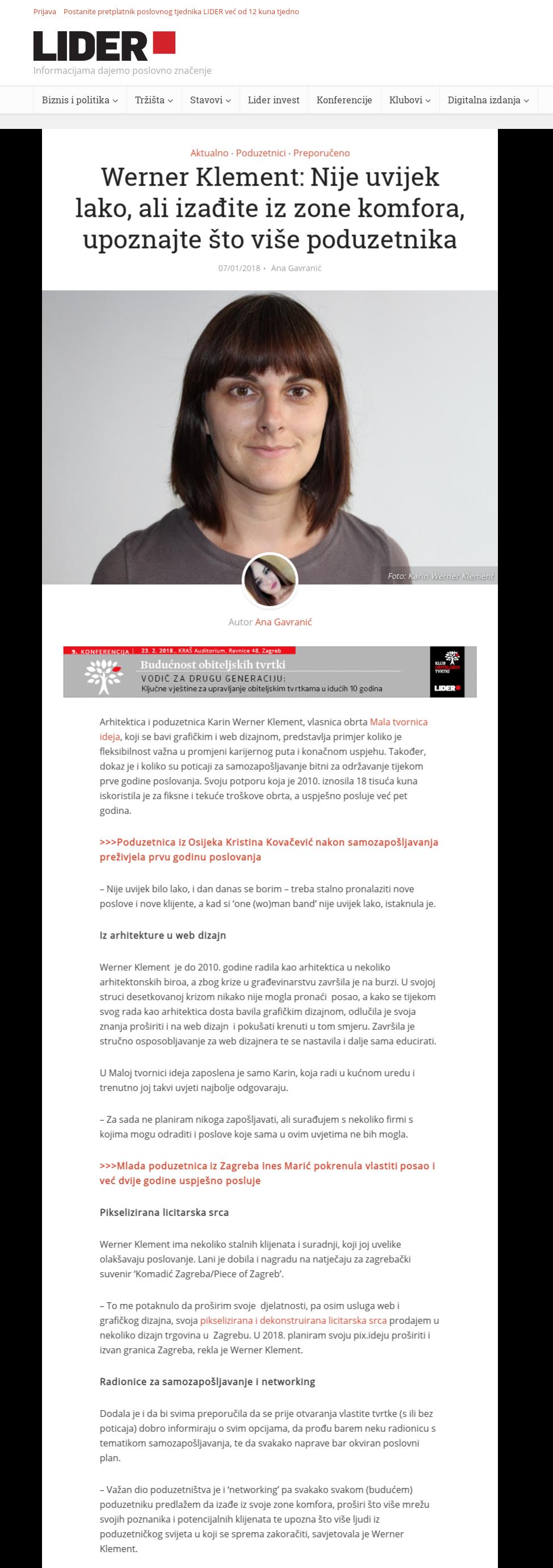 Karin Werner Klement - Lider media